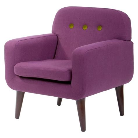Retro Style Armchair by Libra Purple Upholstered Retro Style Armchair From Fusion