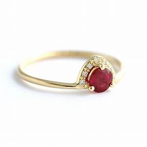 ruby engagement ring with pave diamonds crown artemer With wedding rings ruby