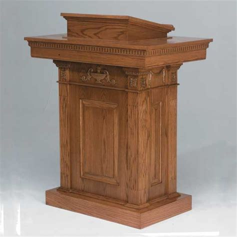 stained pulpit   wood pedestal