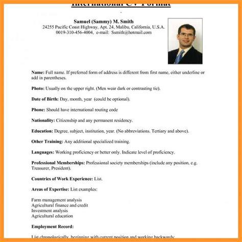 Sle Resume Format For Usa by 12 13 Cv Usa Format Loginnelkriver