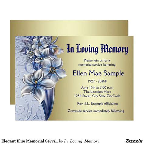 elegant blue memorial service announcements zazzlecom