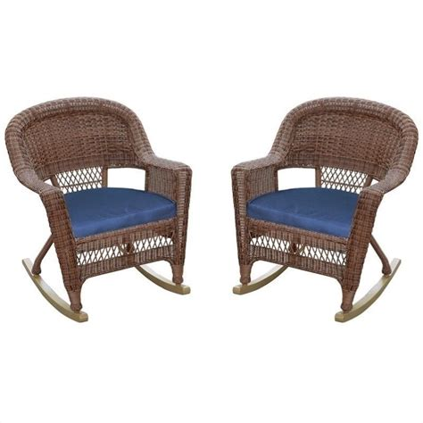 jeco wicker rocker chair in honey with blue cushion set