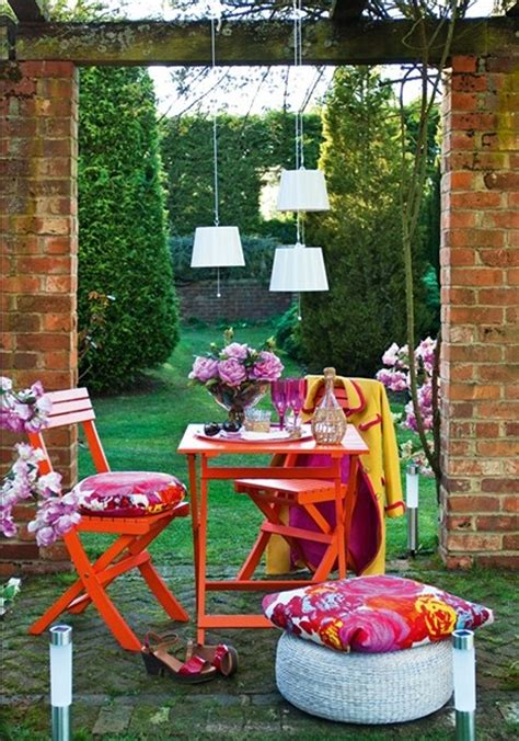 red outdoor furniture garden design