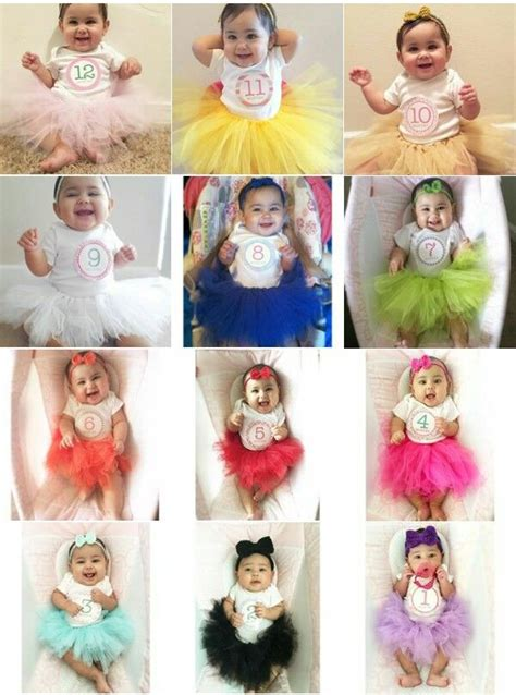 color tutu  baby girl monthly pictures
