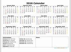 Monday Through Sunday Calendar Template 2016 Calendar