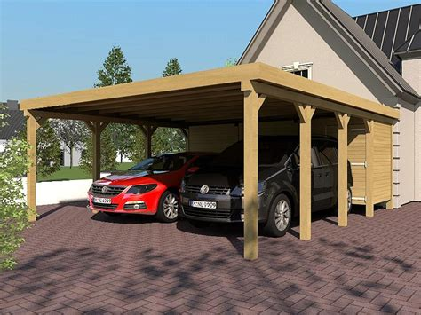 Carport Flat Roof Silverstone Ix 600x800 Cm With Equipment