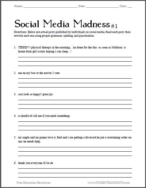 social media madness grammar worksheet   worksheet