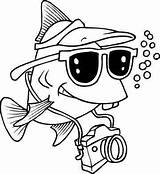 Fish Funny Coloring Pages Drawing Swimming Camera Cartoon Tourist Line Cartoons Underwater 1768 Printable Fun Fat Barracuda Leishman Ron Tropical sketch template