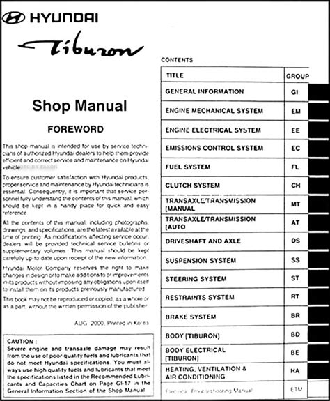 car repair manuals online pdf 2009 hyundai tiburon free book repair manuals 2001 hyundai tiburon repair shop manual original