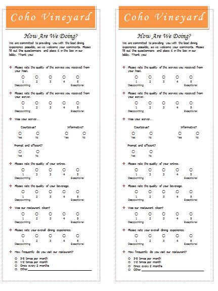 restaurant survey template templates  microsoft word