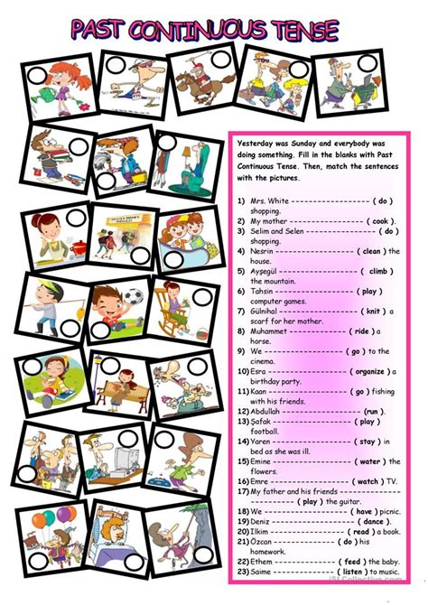 continuous tense worksheet  esl printable
