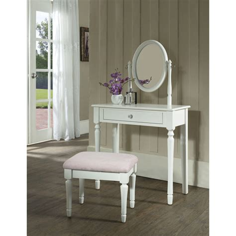 Aol Mail Help Desk by Princess Vanity Set With Mirror And Bench White Walmart Com