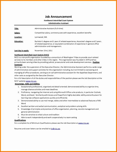 Sle Resume For Administrative Assistant by 9 Description Template Sletemplatess
