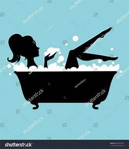 Woman Bathtub Silhouette Stock Vector 260961647 - Shutterstock