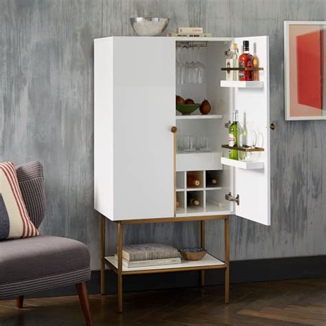 Modern Bar Cabinets by Downing Bar Cabinet White Antique Brass West Elm