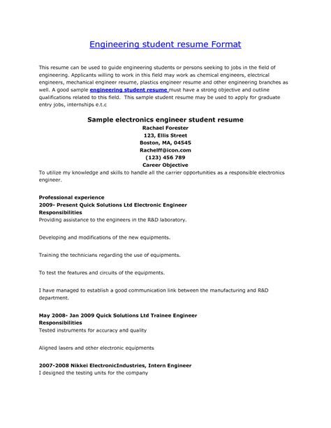 resume format for engineering students http www