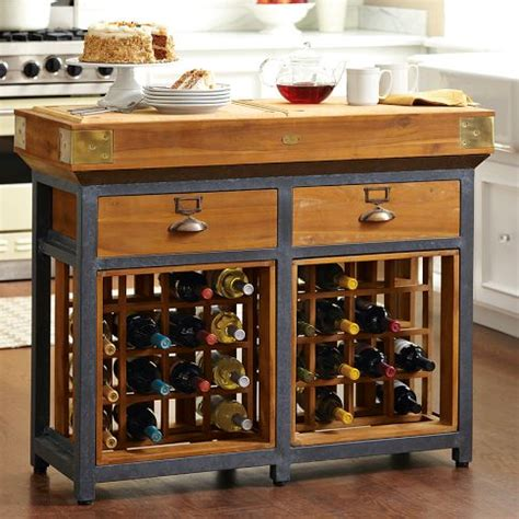 French Chef's Kitchen Island With Wine Racks