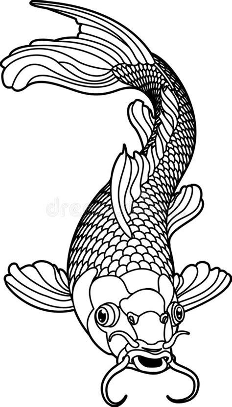 Koi Carp Black And White Fish Stock Vector - Illustration
