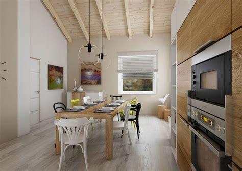 coin repas dans cuisine projet de villa avec toit cathédrale