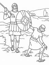 Goliath David Coloring Sling Illustration Stone Spear Symbols Hand Swinging sketch template