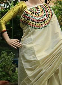 How to make mirror work designer kerala saree - Simple