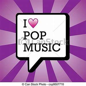 Vector Clipart of I love pop music background illustration ...