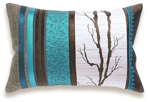turquoise and brown pillows white turquoise blue dark chocolate brown lumbar pillow case 12 x 18 in