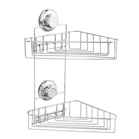 accroche ustensiles de cuisine etagère d 39 angle en acier chromé à ventouse 2 tablettes 21