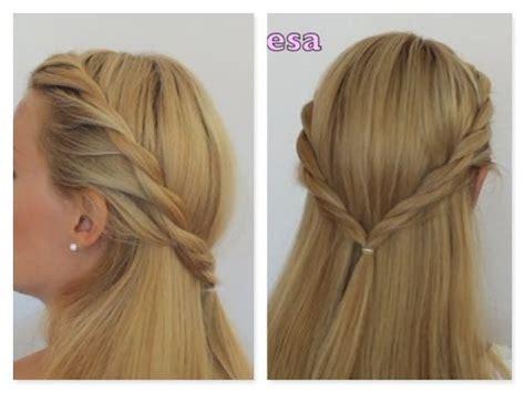 semirecogido trenza dos cabos peinado facil paso a paso
