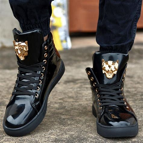 New Fashion High Top Casual Shoes For Men Leather Lace