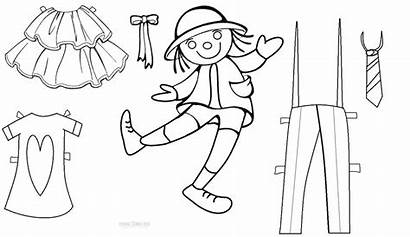 Paper Dolls Doll Coloring Printable Pages Templates