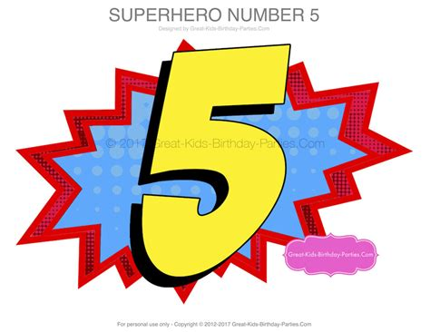 Superhero Number 5 Superhero Birthday Superhero