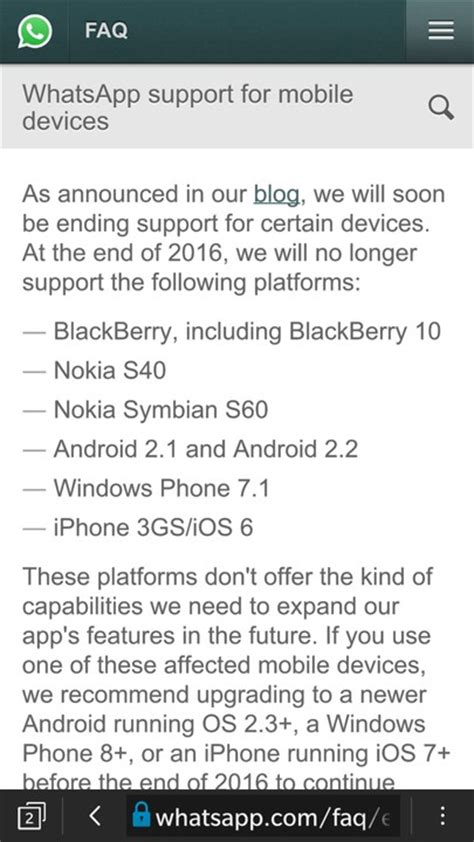 whatsapp ending support for blackberry nokia symbian s60 others phones nigeria