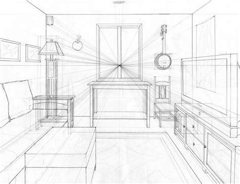 point perspective living room drawing design