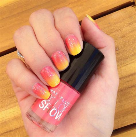 red  yellow ombre nails pictures   images