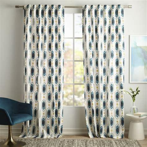 cotton canvas ikat gem curtains set of 2 blue teal