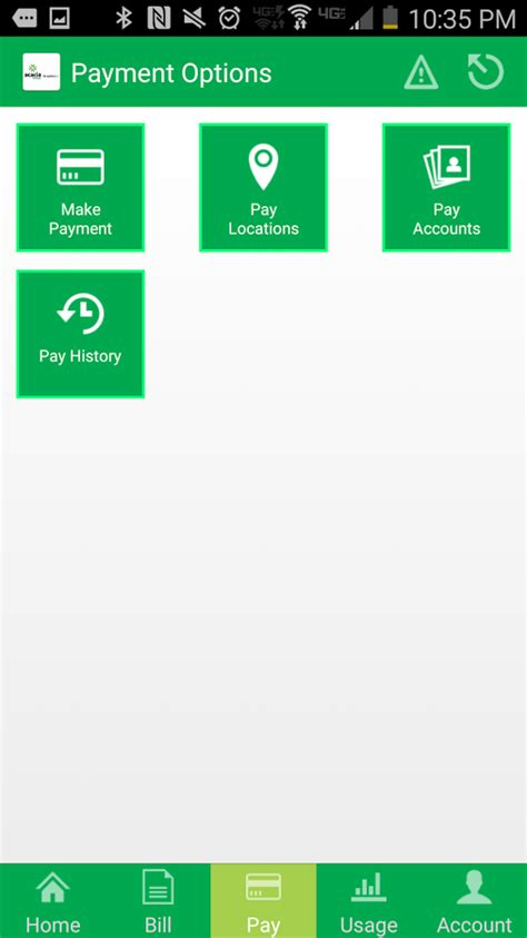 Acacia Mobile App Payment Options Page - Acacia Energy