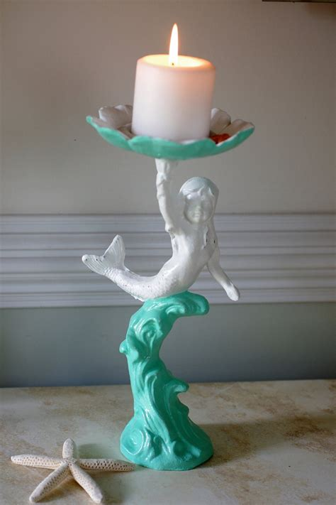 beach decor cast iron girl mermaid candle holder bird