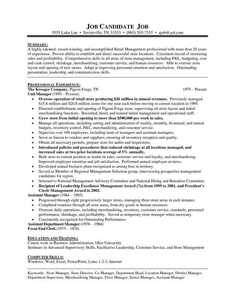Retail Grocery Store Manager Resume by Retail Store Manager Resume Sles Department Store