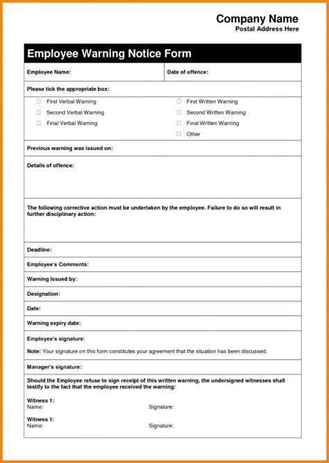 15626 employee warning form employee warning letter template business
