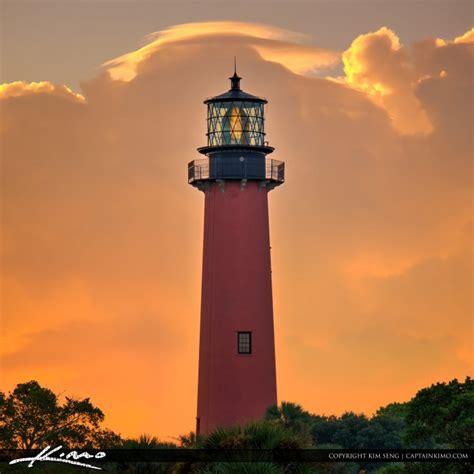 lighthouse jupiter square sky inlet beach captainkimo orange behind florida county palm lighthouses print