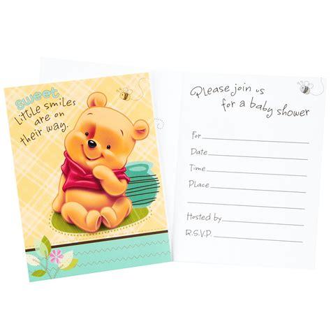 winnie  pooh design   baby shower invitations
