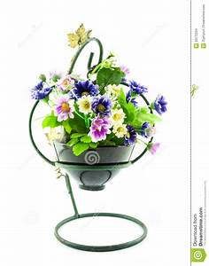 Decorative The Artificial Flowers In Pot Stock Photo