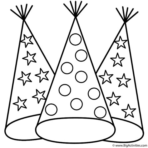 Party Hats - Coloring Page (Canada Day)