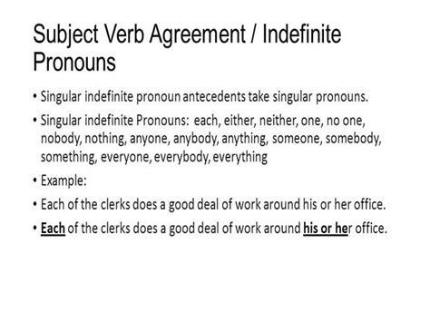 subject verb agreement indefinite pronouns authorstream
