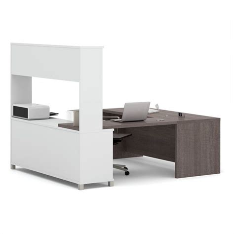 bestar innova u desk with hutch in white and antigua bestar pro linea u desk with hutch in white and bark grey
