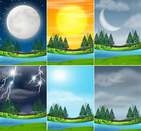 Set of nature landscape different weather - Download Free ...