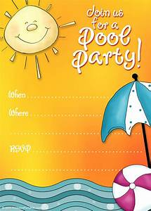 Free printable party invitations summer pool party invites for Pool party invitations template