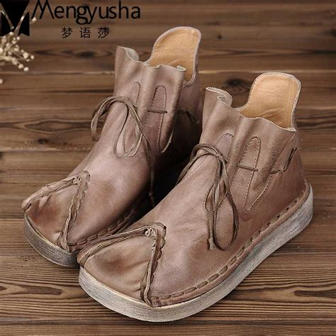 New Fashion Autumn Shoes Women Retro Boots Handmade Ankle