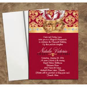 wedding reception card wording burgundy gold mask invitations for quinceanera or sweet 16